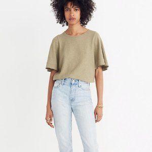 Madewell Texture & Thread Flutter-Sleeve Top  XL